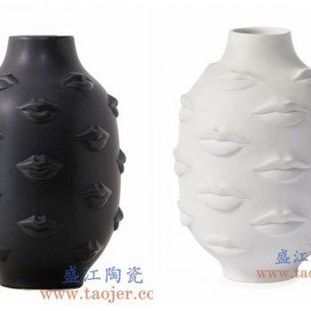 RZLK26-B-景德镇陶瓷 北欧缪斯白色陶瓷人脸花瓶