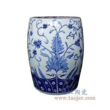 RYNQ248-1-景德镇陶瓷 纯手绘青花 花卉图 圆凳 凉墩