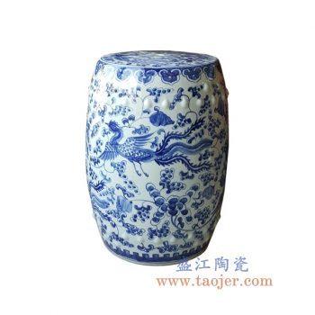 RYNQ249-7-景德镇陶瓷 纯手绘青花葡萄 凤凰 圆凳 凉墩