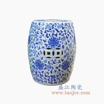 RYNQ250-4-景德镇陶瓷 纯手绘青花缠枝 铜钱镂空 圆凳 凉墩