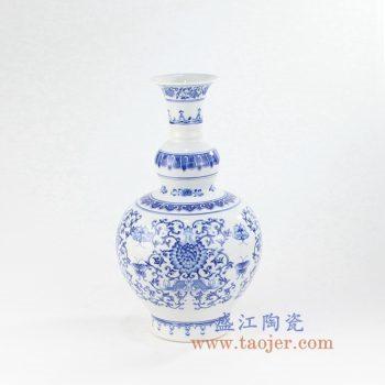 RYCI56-景德镇陶瓷 青花 缠枝 蝴蝶 花插 花瓶