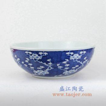 RYLU145-A-景德镇陶瓷 青花 蓝底冰梅 台盆 洗手盆