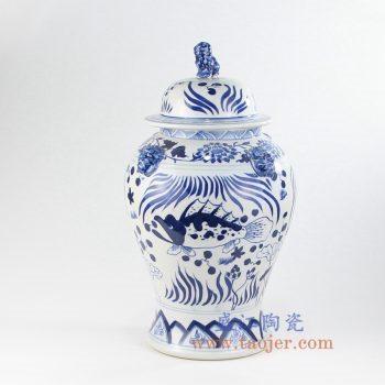 RYLU141-7 景德镇陶瓷 青花 花鸟 牡丹 鱼草图 狮子头 将军罐 储物罐