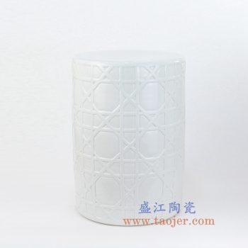 RYNQ58-new-景德镇陶瓷 纯白 几何图案 圆凳 凉墩