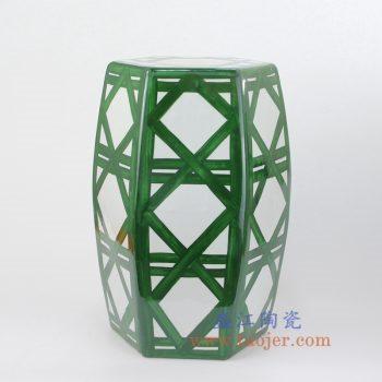 RYNQ67-NEW-景德镇陶瓷 墨绿色 几何图案 六方凳 凉墩