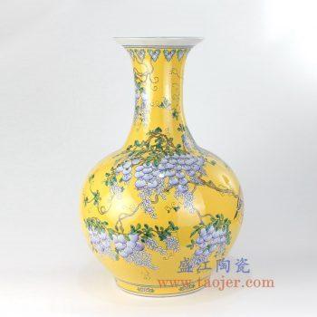 RYRK16-B-景德镇陶瓷 手绘黄底 粉彩葡萄 赏瓶 花插花瓶