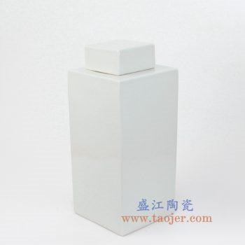 RYSM01-NEW-景德镇陶瓷 颜色釉 纯白色 四方陶瓷罐 储物罐