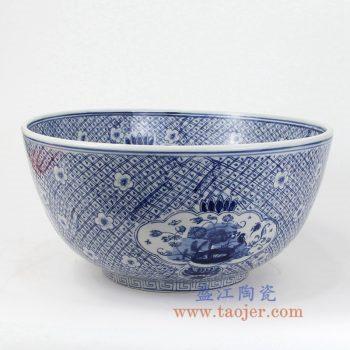 RYUV13-BIG 景德镇陶瓷 仿古青花 花鸟 鱼缸 水缸 花盆