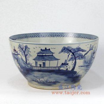 RZFH07-B 景德镇陶瓷 仿古青花 山水楼阁  鱼缸 水缸 花盆