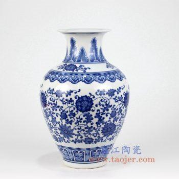 RZKD03 景德镇陶瓷 手工青花 缠枝莲 花插花瓶