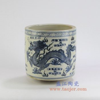 RZKT03 景德镇陶瓷 仿古手绘青花 龙纹 笔筒