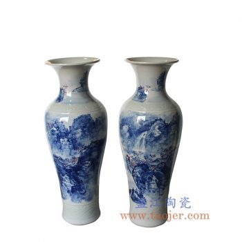 RZMK01 景德镇陶瓷 手绘青花釉里红 山水 大花瓶 落地瓶