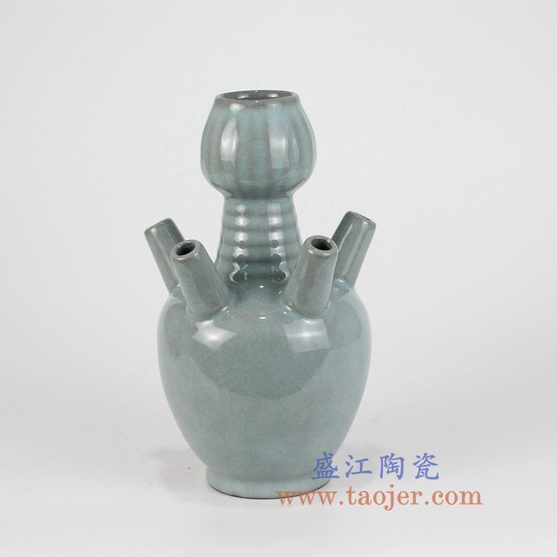 盛江陶瓷 仿古 哥窑开片 五孔瓶 花插花瓶