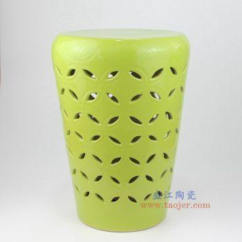 RYIR129 景德镇陶瓷 高温瓷低温颜色釉 荧光绿 镂空 陶瓷凳 凉墩