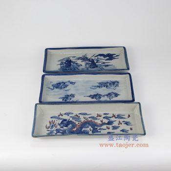 RZIQ07 景德镇陶瓷 大清乾隆年制 仿古手绘青花四方镶器茶托托盘 古董瓷器古玩