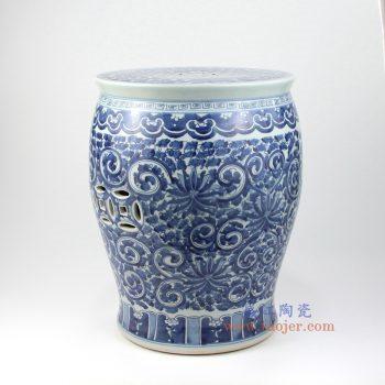 RZMV02 景德镇陶瓷 青花手绘缠枝莲全手工茶几边几重工陶瓷瓷凳吧凳鼓凳绣凳摆件