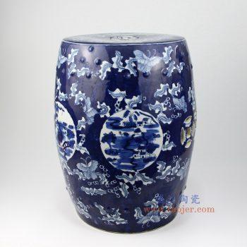 RZMV04 景德镇陶瓷 蓝底 手绘青花 铜钱 圆凳 凉墩