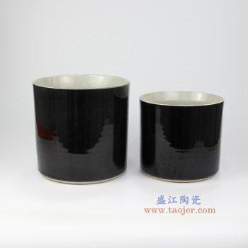 RZMV07 景德镇陶瓷  高温瓷低温颜色釉 黑色 笔筒花盆 大小号