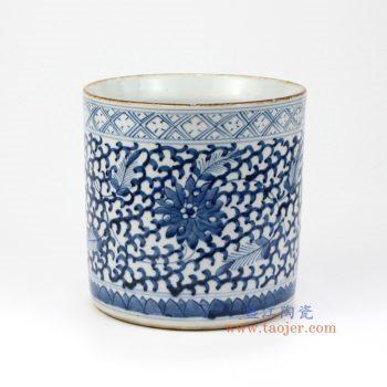RZMV08 景德镇陶瓷 仿古手绘青花 缠枝 笔筒 文房用品