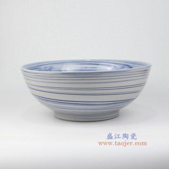 RZMV15 景德镇陶瓷 现代简约 创意条纹 釉下彩大碗 餐具