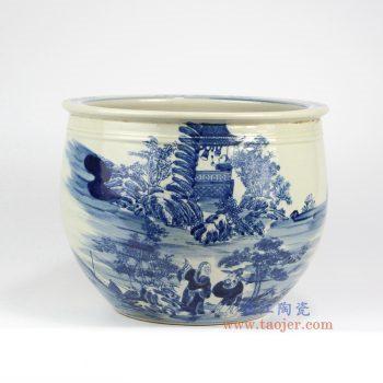 RZMW01 景德镇陶瓷 仿古青花 人物 水缸 鱼缸 花盆
