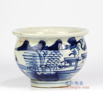 RZMW02 景德镇陶瓷 仿古青花 山水 香炉