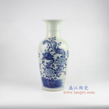 RZMW03-A 景德镇陶瓷 仿古手绘青花 龙纹 花插花瓶 家居摆件品
