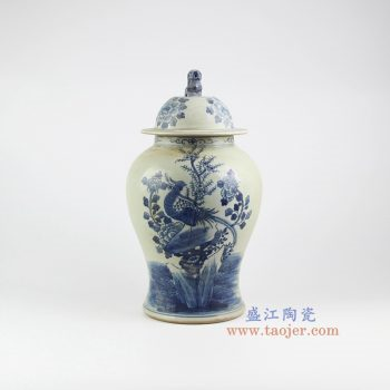 RZMW04-A 景德镇陶瓷 仿古手绘青花 花鸟狮子头 将军罐 储物罐