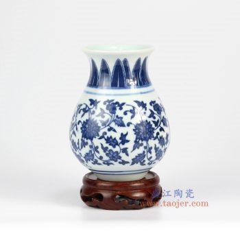 RZMX01 景德镇陶瓷 手绘青花 缠枝莲 小花插 花瓶 家居摆件品
