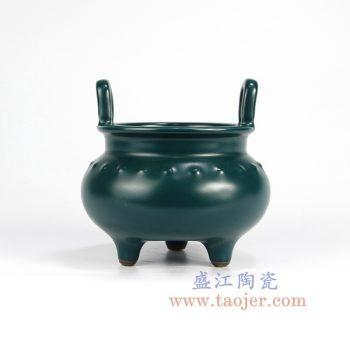 RYPM47_景德镇陶瓷 高温瓷低温颜色釉 双耳 香炉 摆件品