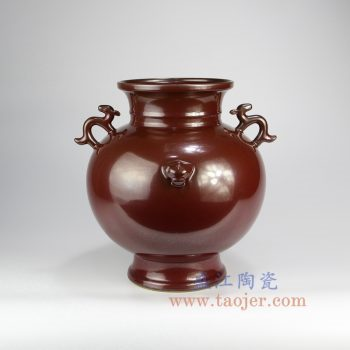 RYPM48_景德镇陶瓷 仿古 铁锈红 红色釉 狮子头 双耳花插花瓶