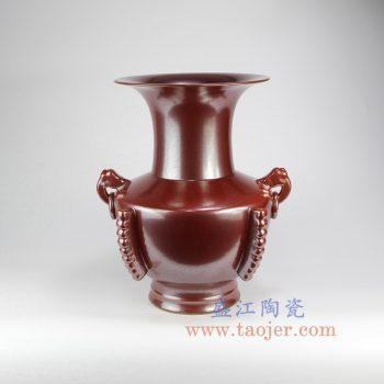 RYPM49_景德镇陶瓷 仿古 铁锈红 红色釉 双耳花插花瓶 花菇