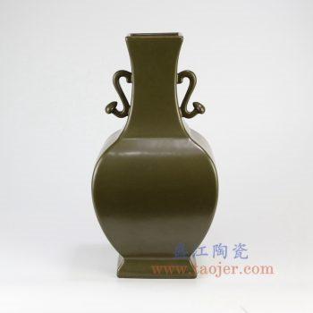 RYPM51_景德镇陶瓷  仿古 茶叶末 双耳 花插花瓶 镶器