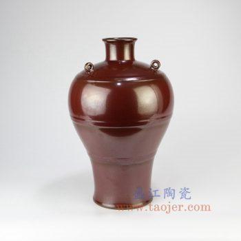 RYPM52_景德镇陶瓷 仿古 手工 红色釉 花插花瓶 梅瓶