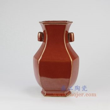 RYPM54_景德镇陶瓷 仿古 铁锈红 红色釉 双耳 六方 花插 花瓶 镶器