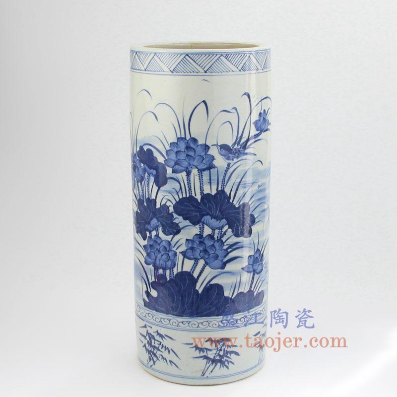 盛江陶瓷 仿古 青花 荷花  箭筒 伞筒 摆件品