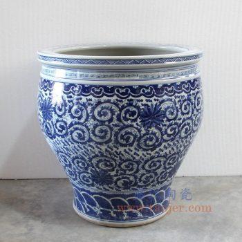 RZMV27_景德镇陶瓷 纯手工手绘 青花缠枝 水缸 鱼缸 大花盆
