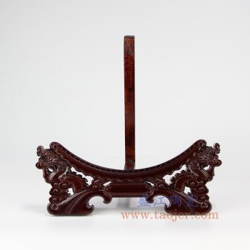 RZNC02_实木 装饰瓷盘挂盘装饰盘龙头架圆形多功能架子花盆配件雕刻摆件