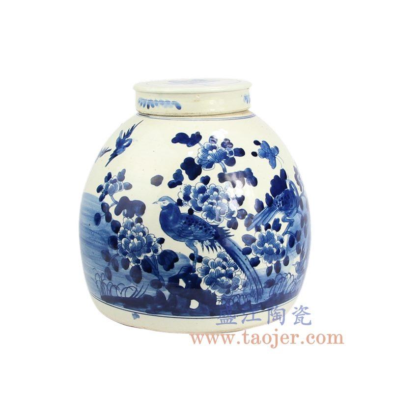 盛江陶瓷 仿古 纯手绘 青花 花鸟陶瓷罐 储物罐 盖罐