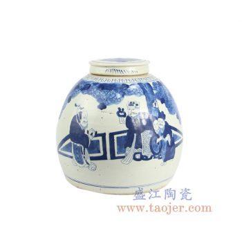 RZFZ07-b 景德镇陶瓷 仿古 纯手绘 青花 人物陶瓷罐 储物罐 盖罐