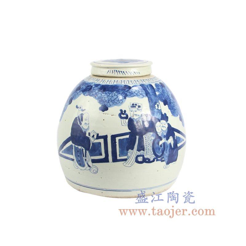 盛江陶瓷 仿古 纯手绘 青花 人物陶瓷罐 储物罐 盖罐