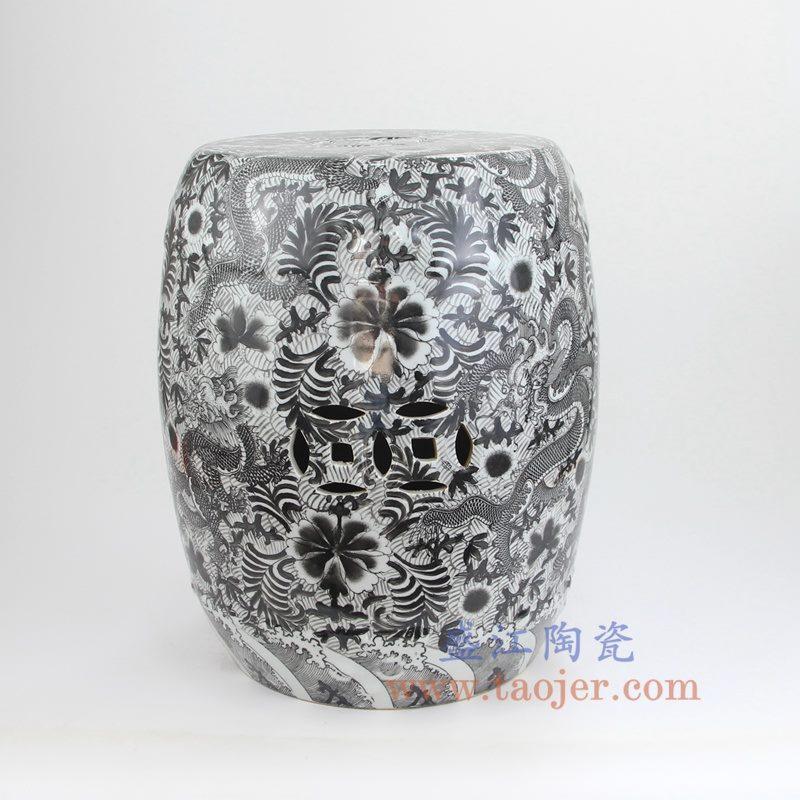 盛江陶瓷 仿古 全手工 墨彩 龙纹 铜钱 圆凳 凉墩