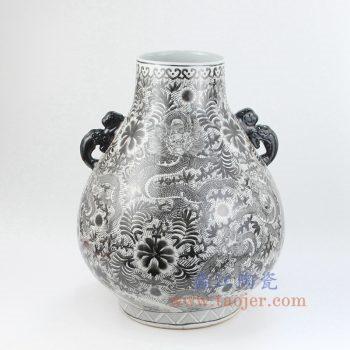 RZIS05-B 景德镇陶瓷 全手工 墨彩 龙纹 双耳 花插 花瓶