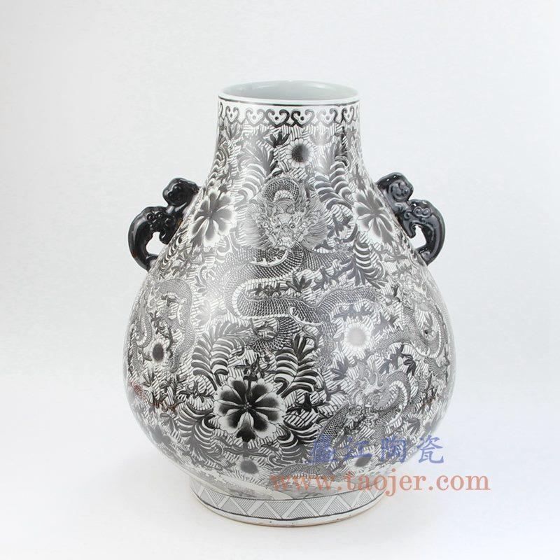 盛江陶瓷 全手工 墨彩 龙纹 双耳 花插 花瓶