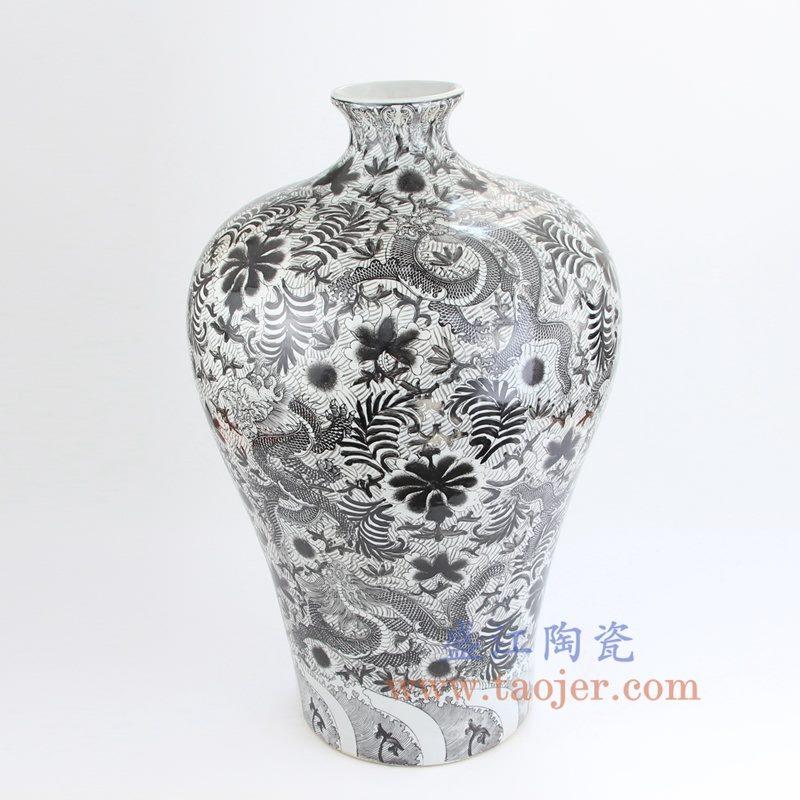 盛江陶瓷 全手工 墨彩 龙纹 梅瓶 花插花瓶