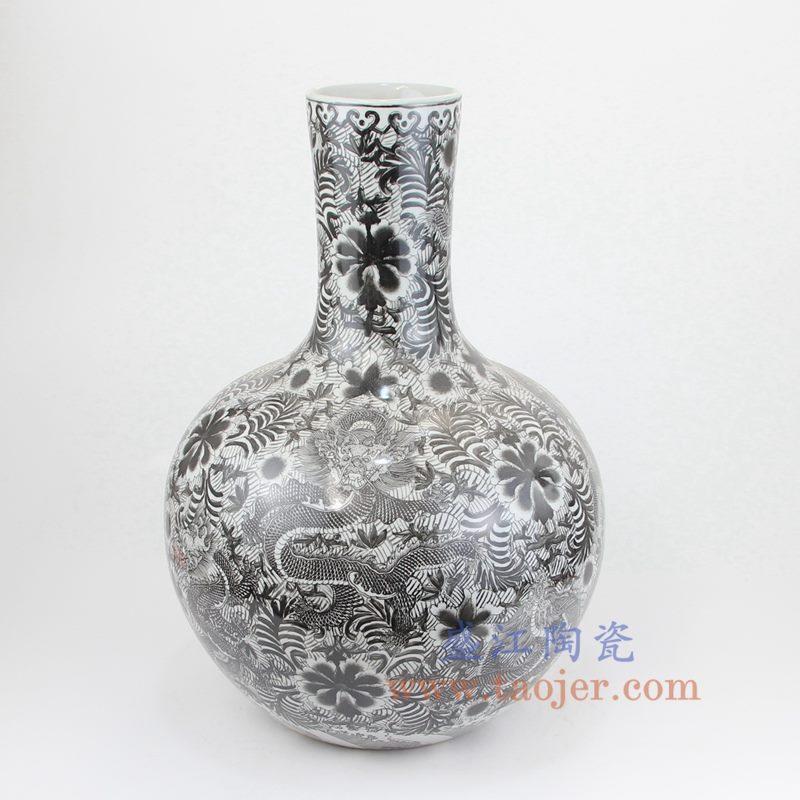 盛江陶瓷 全手工 墨彩 龙纹 天球瓶 花插花瓶
