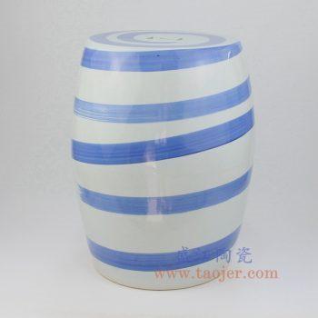 RZMV29_景德镇陶瓷 全手工 青花 条纹 圆凳 凉墩