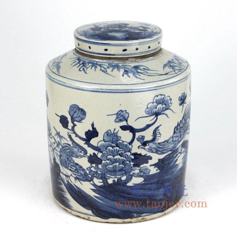 盛江陶瓷 仿古 全手工 青花 花鸟 陶瓷罐 储物罐 盖罐
