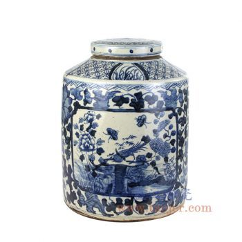 RZPJ05-B-BIG- 景德镇陶瓷 仿古 全手工 青花缠枝 花鸟 陶瓷罐 储物罐 盖罐 大号