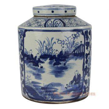 RZPJ05 景德镇陶瓷 仿古 全手工 青花 山水 陶瓷罐 储物罐 盖罐 小号